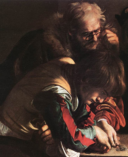 In caravaggio's the calling of saint matthew who is standing beside christ