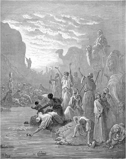 Moses brings forth water from the rock