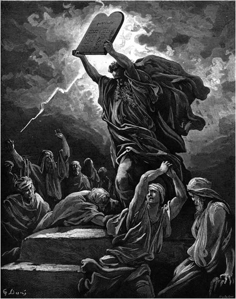 Moses destroys the tablets