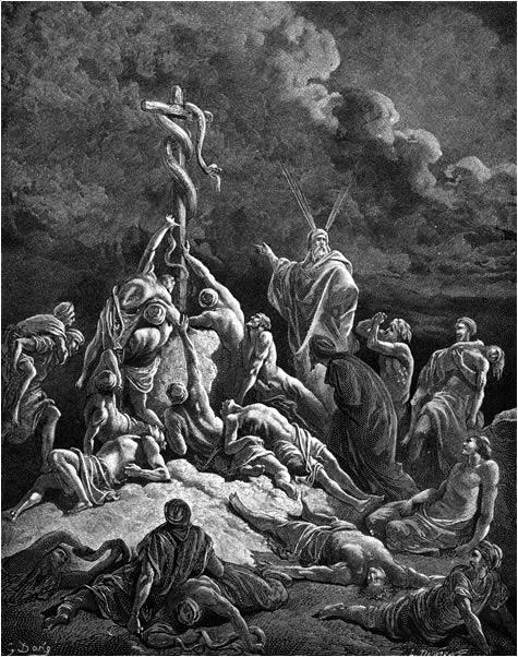 Moses raises a brazen serpent
