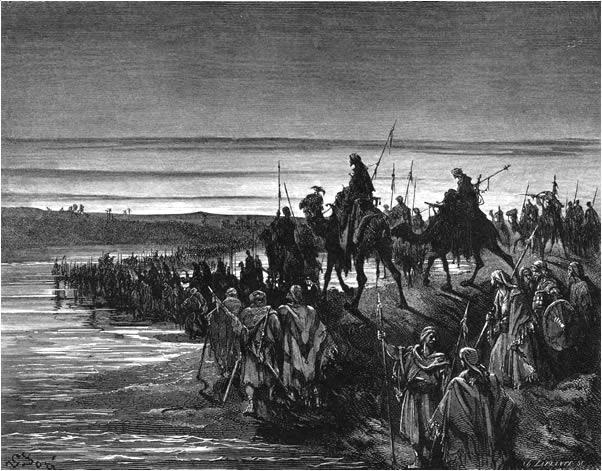 The Israelites enter the Promised Land