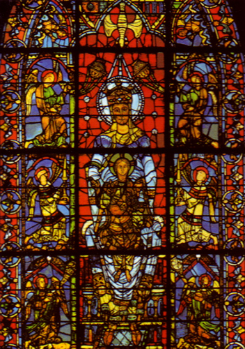 Detail From A Stained Glass Window In Chartres Cathedral Early 13th Cenury